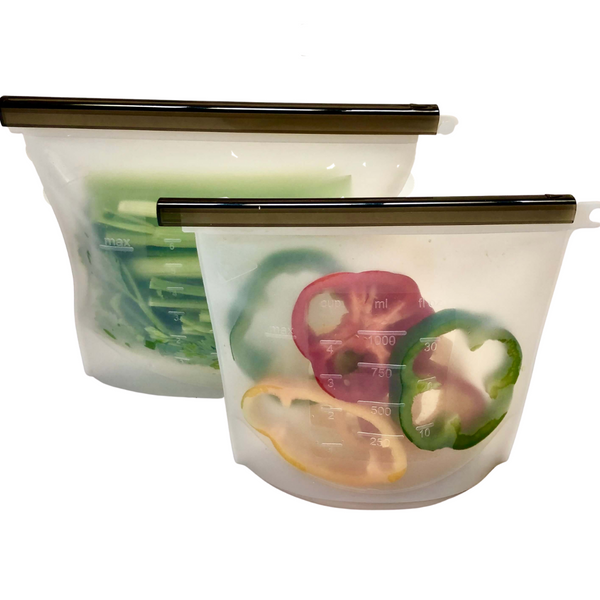Reusable Silicone Food Bags (Set 1 litre & 1.5 Litre) - Clear - KitMaii