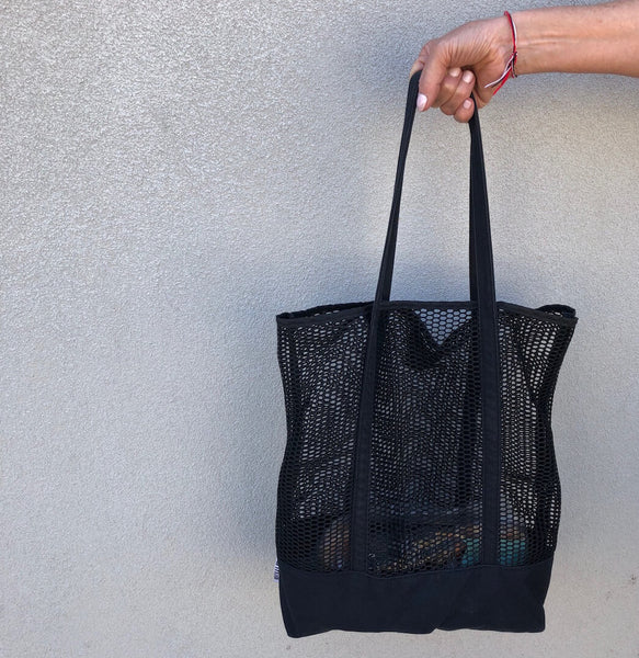 Black Canvas Mesh Tote - KitMaii