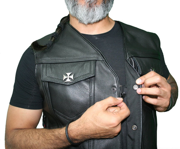 motorcycle leather vest with hidden zipper - Hillside Leather