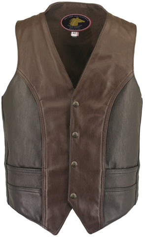 Black & Brown Horsehide Biker Vest