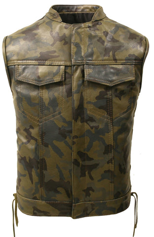 All Leather Camouflage Biker Vest