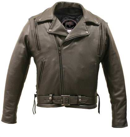 American Bison Motorcycle Leather Jacket with Vents-front