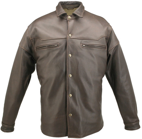Mens Motorcycle Leather Shirt