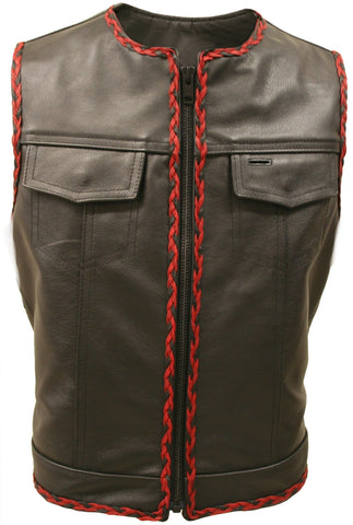 Black-Red-Outlaw Braided Biker Vest w Side Laces