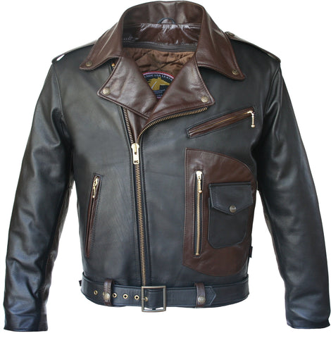 Black -Brown D Pocket Horsehide Motorcycle Jacket