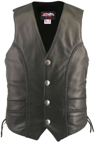Braided Leather Motorcycle Vest w/ Genuine Buffalo Nickel Snaps