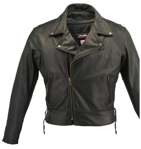 Classic Beltless Motorcycle Leather Jacket