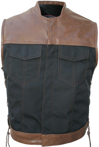 Club Style Vest ( Leather & Cordura ) Black/Brown Vintage
