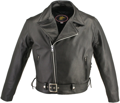 Full Belt Horsehide Motorcycle Jacket-black
