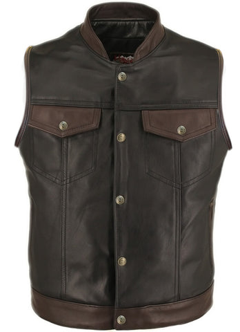 SOA Horsehide Biker Vest -Black and Brown