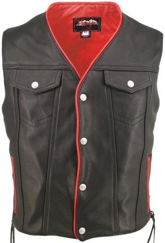 Laced Jean Biker Vest -Red Trim
