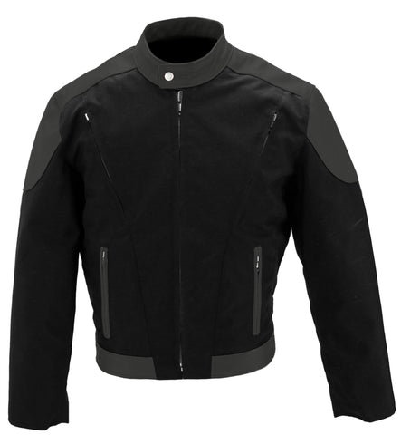 Leather & Cordura Motorcycle Jacket w Vents-black-black