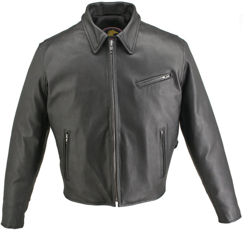 Snap Down Collar Horsehide Motorcycle Jacket