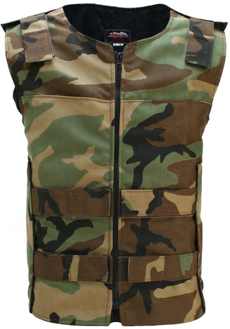 Tactical Street Woodland Camo Vest With Front Zipper