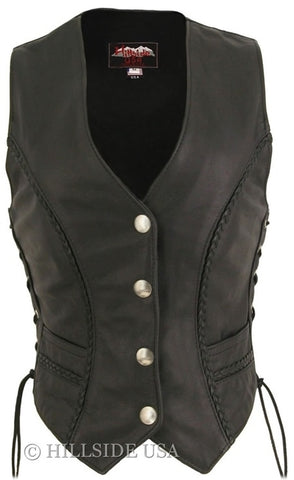 Women's Braided Leather Vest