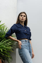 Load image into Gallery viewer, Mia Crop Top in Navy Blue