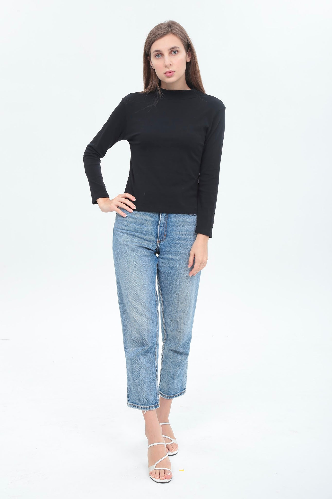 Basic Turtle Neck Long Sleeve Top in Black