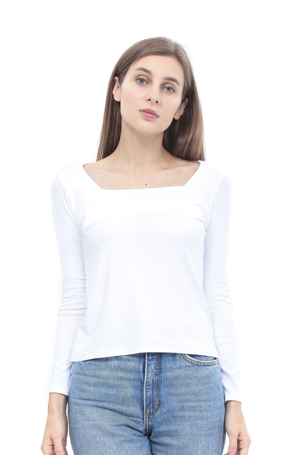 Basic Square Neck Long Sleeve Top in White