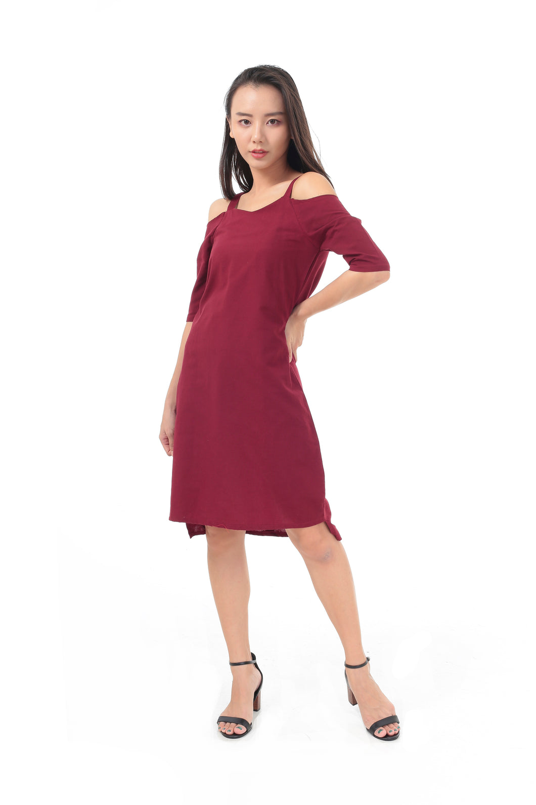 Felix Dress in Maroon