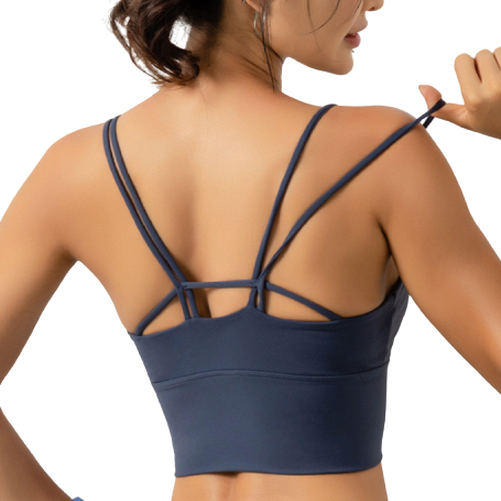 [ Active Wear ] Cross Backless Sport Bra in Blue