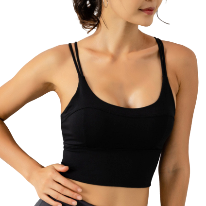[ Active Wear ] Cross Backless Sport Bra in Black