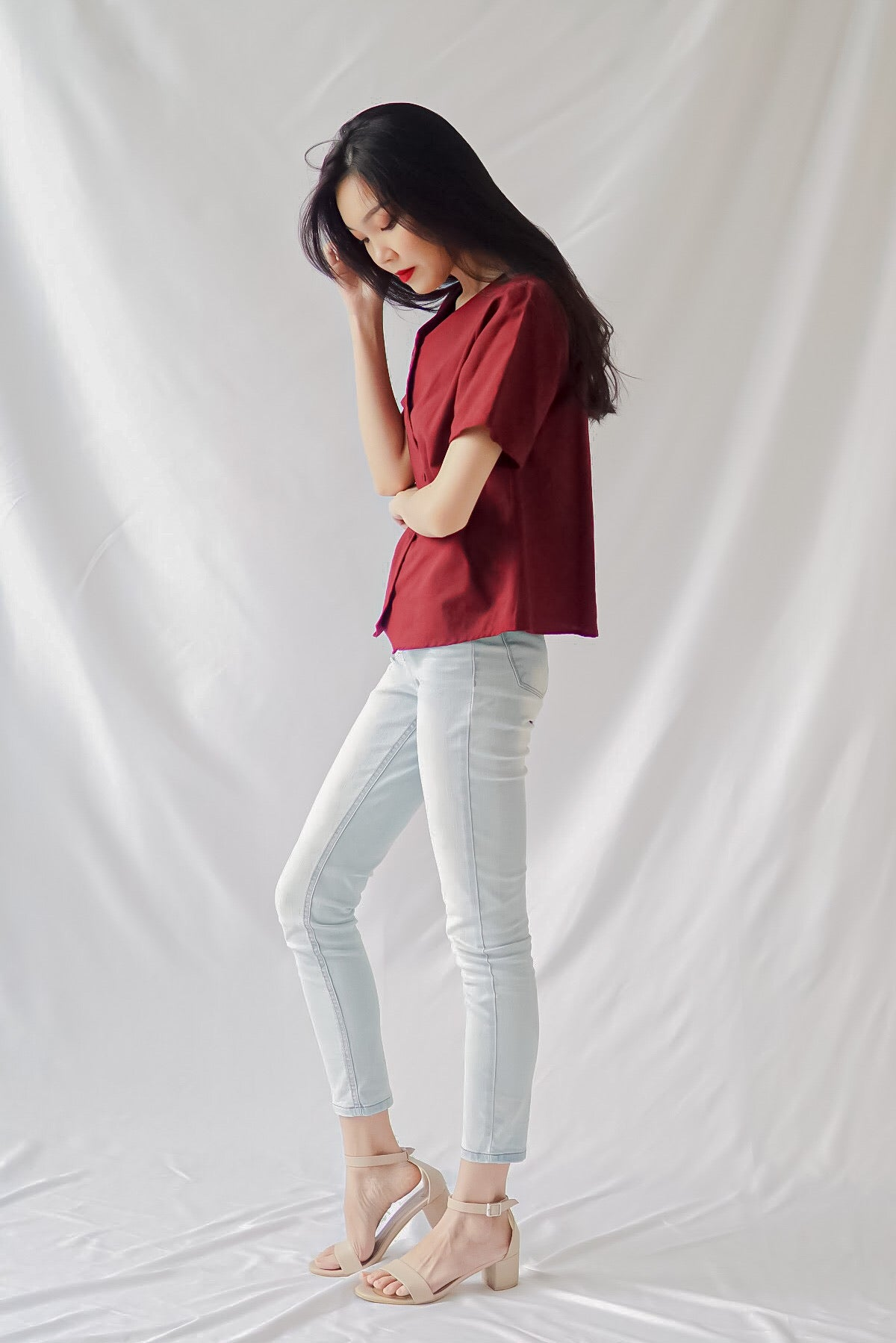 Amya Top in Maroon