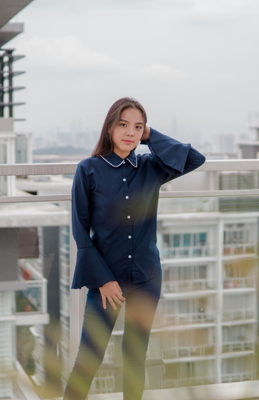 Special Collar Bell Sleeve Top in Navy Blue