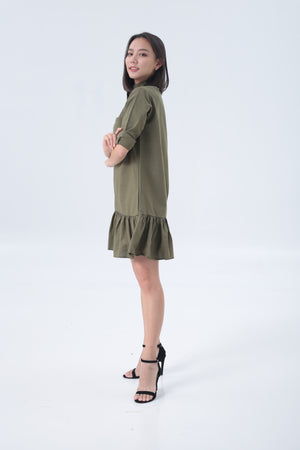 Lofer Dress in Army Green