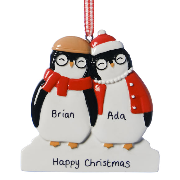 Personalised Resin Grandparent Penguin Christmas Decoration 8cm x 8cm