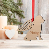 Personalised Wood Christmas Angel Dog Decoration