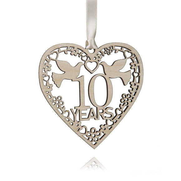 Wood Anniversary Keepsake Years Decoration 10cm 10 25 30 40 50 Years