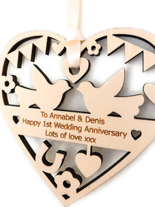 Personalised Wood Anniversary Wedding Decoration 12cm