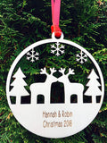 Personalised Wood Christmas Couple Decoration 12cm