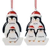 Personalised Adult and 2 Children Resin Penguin Decoration 9cm x 6.5cm