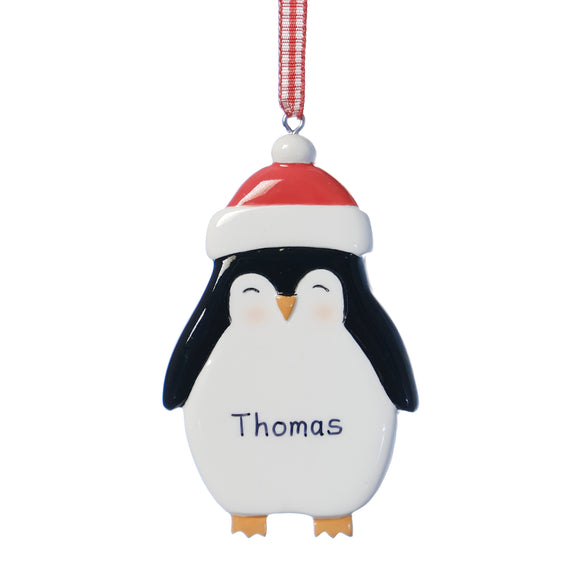 Personalised Baby Resin Penguin Decoration 8.5cm x 5cm