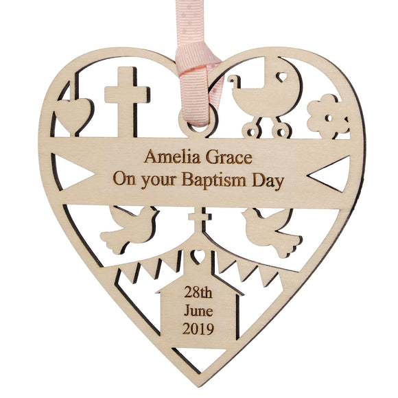 Personalised Wood Baptism Christening Decoration 12cm Pink or blue ribbon