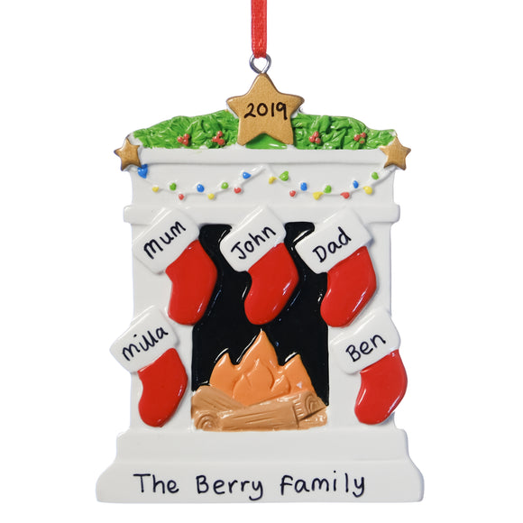 Personalised Resin Fireplace Decoration 9cm 5 Stockings