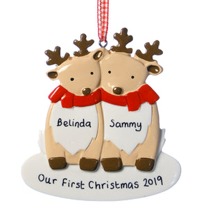 Personalised Resin Deer Couple Decoration 8.5cm x 9cm
