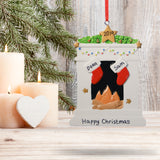 Personalised Resin Fireplace Decoration 9cm 2 Stockings