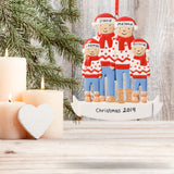 Personalised Resin Familiy of 4 with Christmas Jumpers Tree Decoration 11cm x 9cm