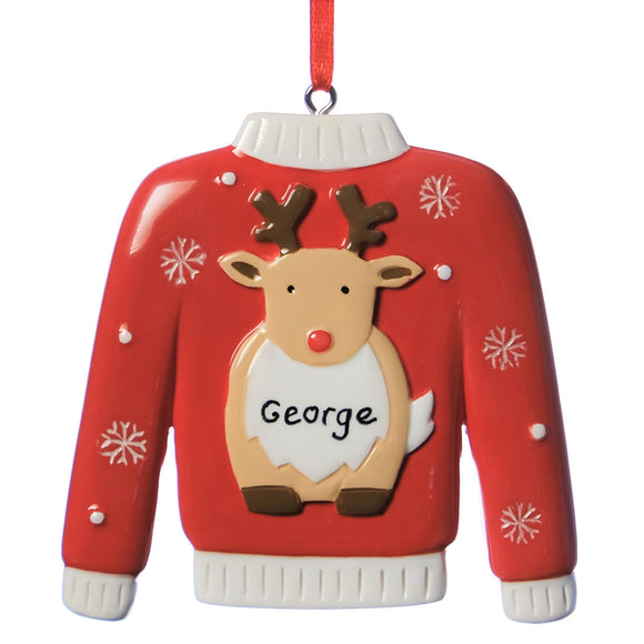 Personalised Deer Christmas Jumper Decoration 8cm x 5cm
