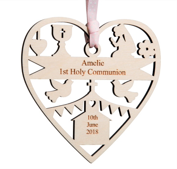 Personalised Wood 1st Holy Communion Decoration 12cm Girl or boy version
