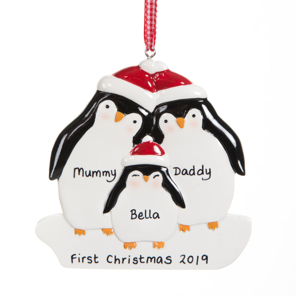 Personalised Resin Penguin Family 3 Decoration 9cm