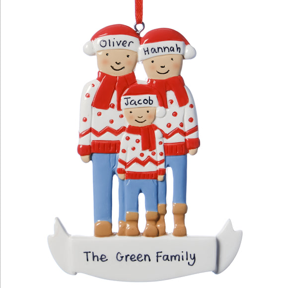 Personalised Resin Familiy of 3 with Christmas Jumpers Tree Decoration 11cm x 8cm