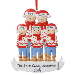 Personalised Resin Familiy of 5 with Christmas Jumpers Tree Decoration 11cm x 10cm