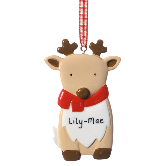 Personalised Baby Deer Decoration 8cm x 5cm