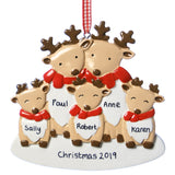 Personalised Resin Deer Family 5 Decoration 10cm x 10cm