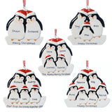 Personalised Resin Penguin Family 5 Decoration 9.5cm