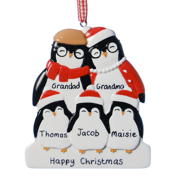 Personalised Resin Grandparent Penguin Family 5 Christmas Decoration 9cm x 8cm