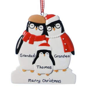 Personalised Resin Grandparent Penguin Family 3 Christmas Decoration 9cm x 8cm